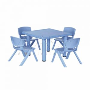 F043--B-Plastic-moulded-Square-table-_-Blue-colour