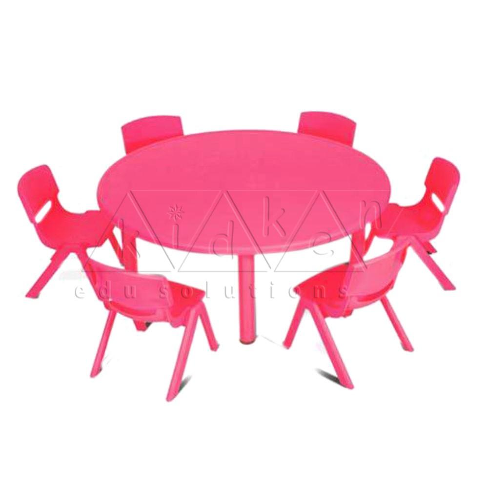 Plastic Moulded Round Table Red Colour Kidken Edu Solutions