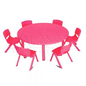 Plastic moulded round table – Pink Colour